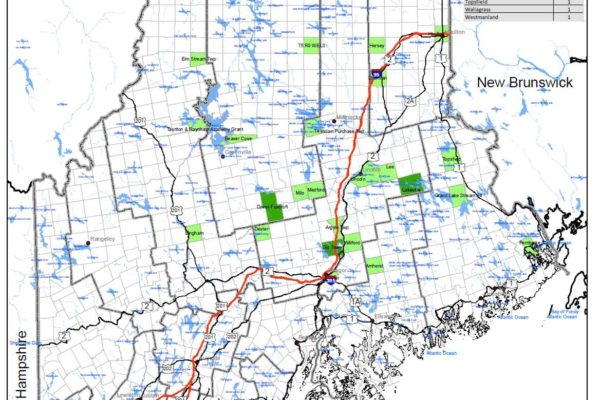 Map of areas in Maine where SBW moth traps were deployed.
