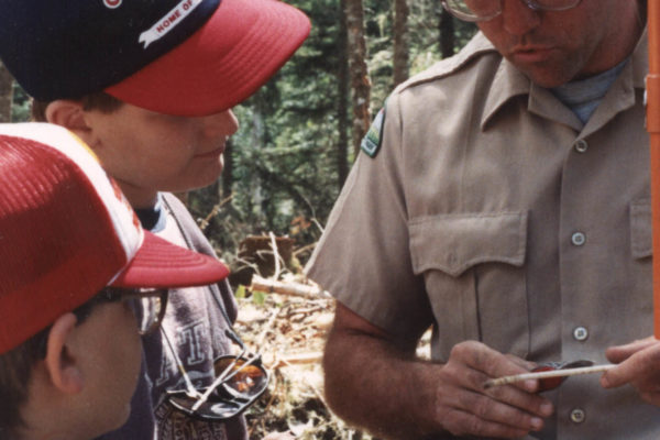 Photo of Baxter State forester working with students