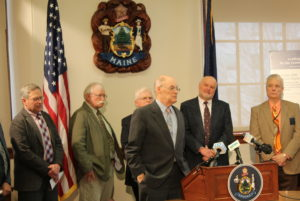 Photo of Doug Denico, Maine Forest Service, at SBW news conference.