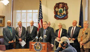 Photo of Maine Governor Paul LePage at spruce budworm news conference.