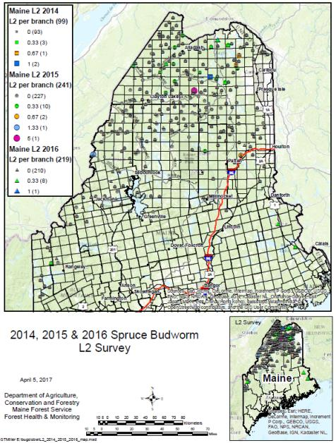 Map depicting L2 catches 2014-2016